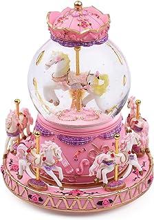 Carousel Horse Music Box Snow Globes Color Ce LED Light Luminous Unicorn Music Boxes Best Birthday Gift for Kids Girls Pink