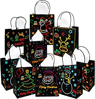 18Pcs Christmas Gift Bags, Medium Size Glow in The Dark Paper Bags with 18pcs Paper Tissue and 18pcs Gift Tags for for Holiday Gift, Classrooms and Party Favors by Haojiake