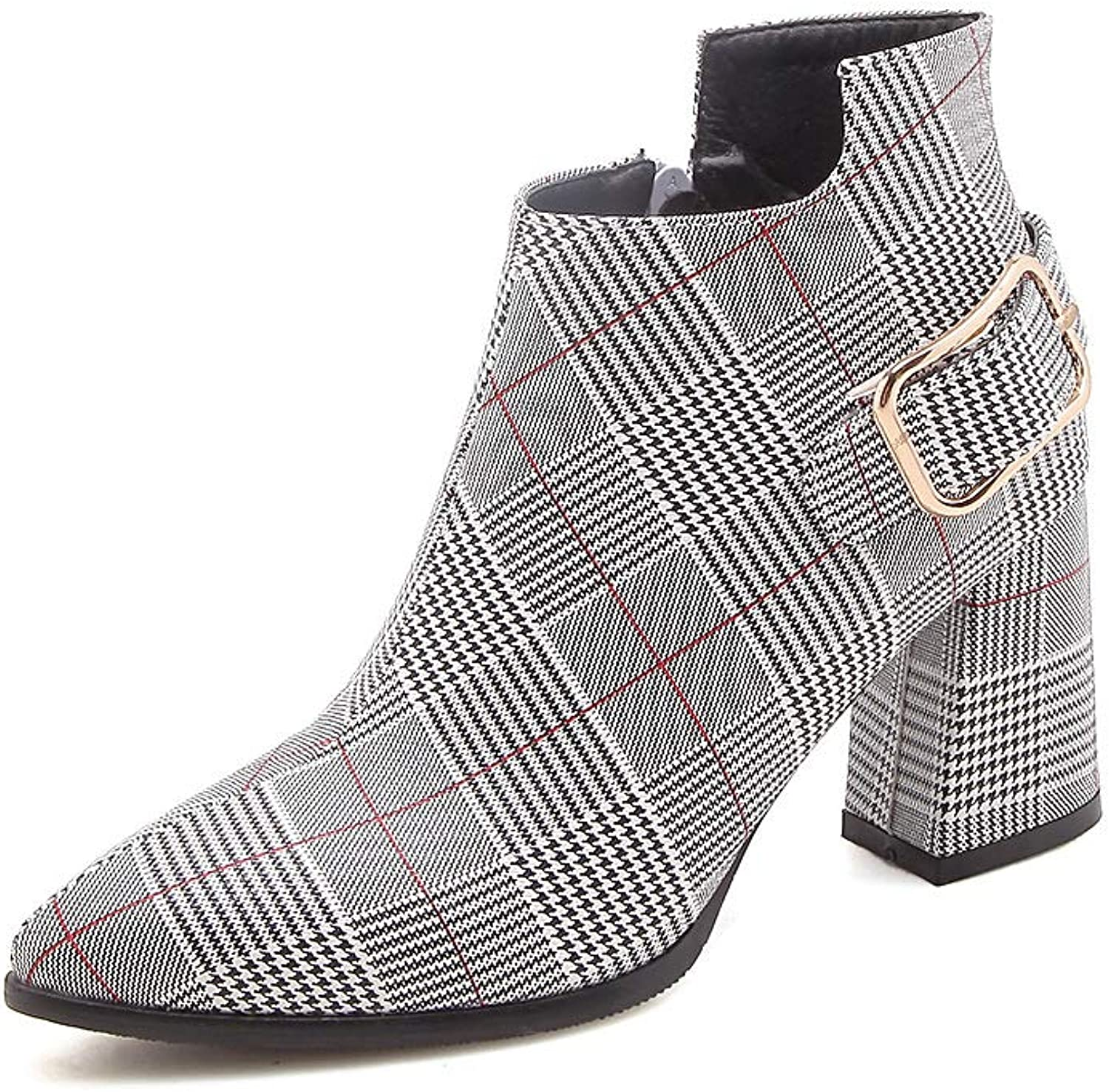 GONGFF Europe and America pu Plaid Belt Buckle Side Zipper high Thick Ankle Boots Ladies Large Size Boots