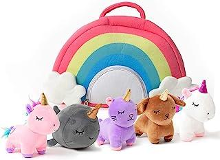 PixieCrush اسباب بازی اسب شاخدار مجموعه ای از مخمل خواب دار حیوانات مخمل خواب دار با کیف رنگین کمان - 5 قطعه حیوان پر شده با 2 اسب شاخدار ، بچه گربه ، توله سگ و نارول - هدایای کودک نوپا برای دختران 3 ، 4 ، 5 ، 6 ، 7 ، 8 ساله
