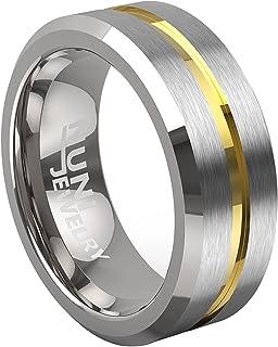 مجوهرات Nuni خاتم التنجستن الأنيق 8 مم خاتم الزفاف للرجال والنساء - يأتي في حقيبة مخملية واقية