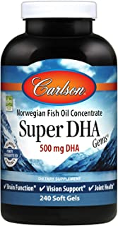 Carlson - Super DHA Gems, 500 mg DHA Supplements, 640 mg Fatty Acids, Norwegian Fish Oil Concentrate, Wild-Caught, Sustainably Sourced Fish Oil Capsules, 240 Softgels