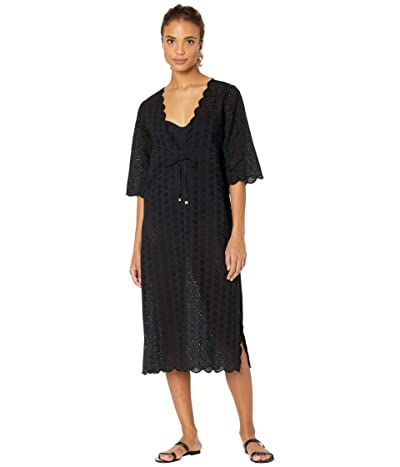Tory Burch Swimwear Broderie Midi Beach Tunic Cover-Up (Black) Women