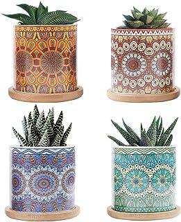 CNNIK 7cm Vaso Ceramica, Succulente Vaso per Piante con Motivo a Mandala e Vassoio in bambù, Cactus Vaso per Fiori per l'a...