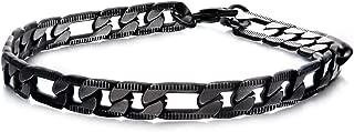 Men's Denim Fade Stainless Steel Black Plated Diamond Cut Figaro 6.5mm Chain Matching Bracelet. 8.5 inch Long