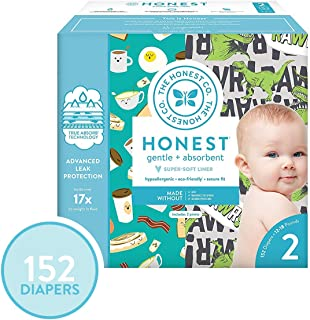 The Honest Company Super Club Box Diapers - Size 2 - T-Rex & Breakfast Print | TrueAbsorb Technology | Plant-Derived Materials | Hypoallergenic | 152 Count