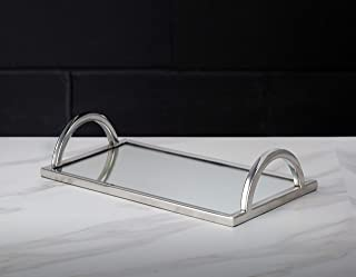 Elegant Silver Mirror Tray - with Chrome Edging and Handles - Rectangle Vanity Tray - Ideal for Ottoman, Coffee Table, Perfume Set, Living Room, Dining Room, Whiskey Decanter Set. 16 x 10 Inches