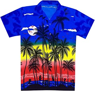 Coconut Tree Print Short Sleeves Shirt Men