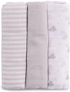 PEKITAS Muselinas Pack de 3 | Mantas de Muselina 100% Algodón | Paños de Muselina para Bebés Calidad 75 x 75 cm Color Café y blancos