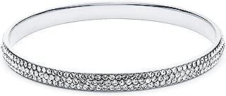 MYJS MYJS Show Stopper Crystal Stone Pave Statement Bangle Rhodium Plated Bracelet