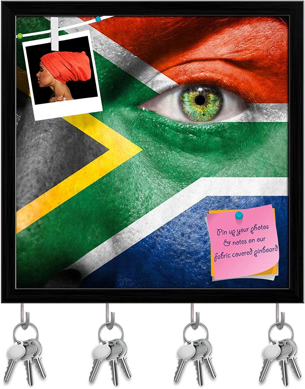 Artzfolio South African Flag Painted On A Face Key Holder Hooks   Notice Pin Board   Black Frame 20 X 20Inch