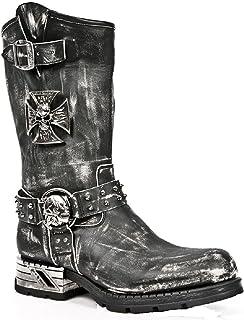 New Rock MR030-S2 Boots Couleur Noir Frotté pour Femmes Cuir Naturel Style Western Cowboy Rock Motard