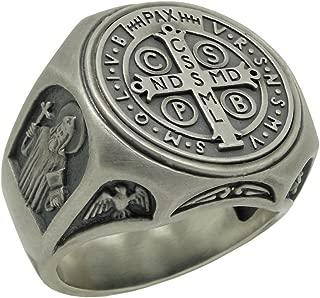 Saint Benedict Sterling Silver 925 Christian Roman Catholic Exorcism Mens Ring, Demon Protection