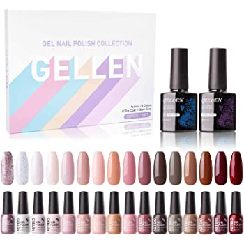 Gellen 16 Colors Gel Nail Polish Kit With Top Base Coat - Pastel Pink Red Nudes Brown Colors Collection, Trendy Neutral Opaque Sparkle Glitters Nail Art Colors Home Gel Manicure Set