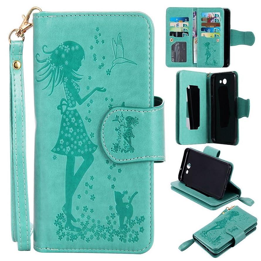 Lomogo [9 Card Holders] Galaxy Sky Pro / J7 Perx / J7 2017 / J7 V / Halo Leather Wallet Case with Kickstand Card Holder Shockproof Flip Case Cover for Samsung Galaxy J7 (2017) - EKATU24409 Green