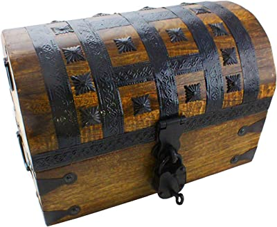 "Well Pack Box Pirate Treasure Chest Box 14""x 9""x 8"" with Iron Accents - Lock and 2 Skeleton Keys (Large)"