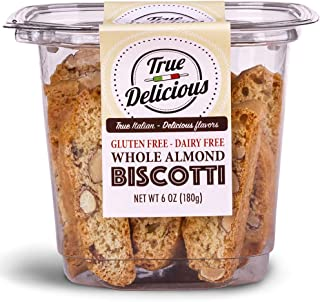 True Delicious GLUTEN FREE DAIRY FREE ALMOND BISCOTTI, Italian fine dessert, baked twice (4 boxes of 6oz each)