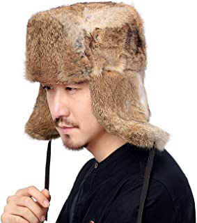Winter Bomber Hat Male Real Natural Rabbit Fur Hat Russian Hat Men Warm Trapper Hat with Earflaps,Tan