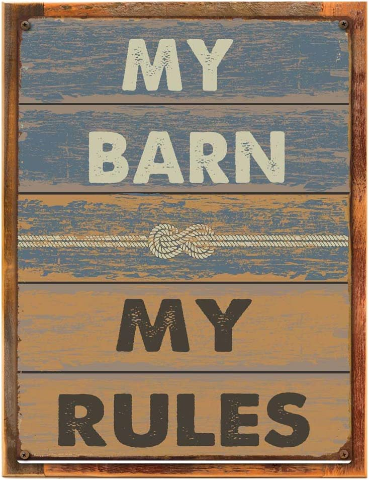 OMSC Wood-Framed My Barn Rules Rustic Sign Indefinitely online shop Stable Déc Metal