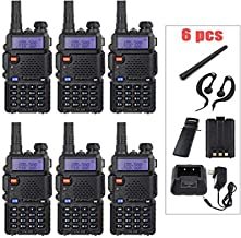 "BaoFeng Ham Radio 6 Pack UV-5R 1.5"" LCD 5W 136~174MHz / 400~470MHz Dual Band Walkie Talkie with 1-LED Flashlight Includes ..."