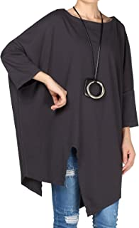 Vogstyle Dames ronde hals effen kleuren 3/4 mouw asymmetrisch plus-size blouse pullover tuniek T-shirt