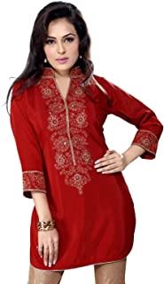Rust Crepe Indian Kurti/Tunic with Embroidery