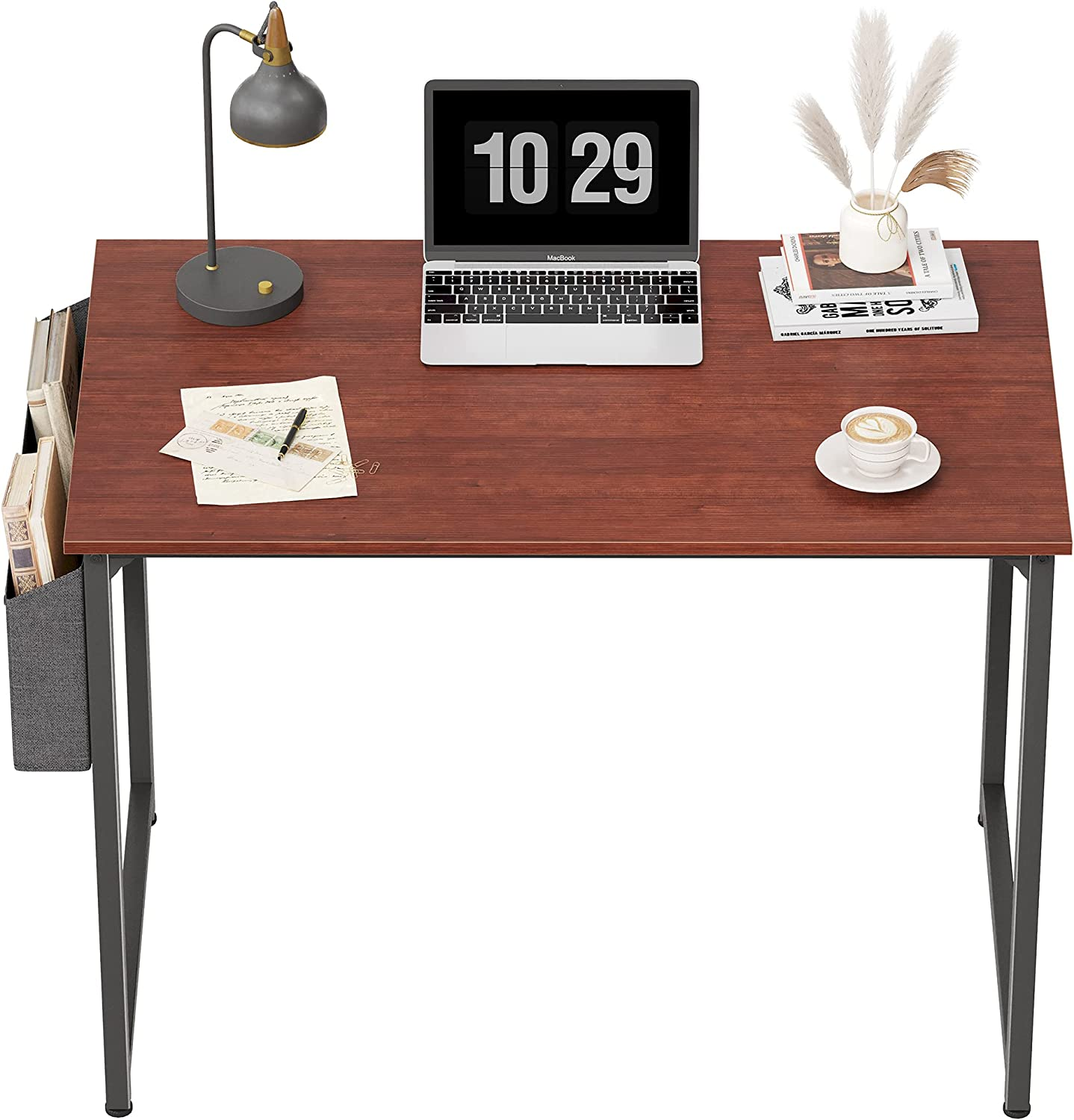 CubiCubi Computer Desk 40 Inch Study Writing Table for Home Office, Modern Simple Style PC Desk, Black Metal Frame, Red