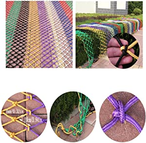 HWJ Multifunctional Child Safety Net Stair Protective Net Wall Color Decorative Net Nylon Hand-woven Mesh Railing Anti-fall Net Playground Park Kindergarten  Size 3x5m
