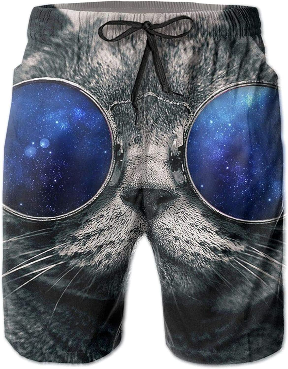 LINEFLYWI Space Cat Board Shorts, 3D Swim Trunks Quick Dry Summer Underwear, Beach Shorts with Pockets, for Mens