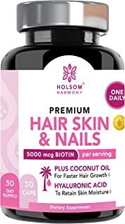 Biotin 5000 mcg - (ONE Daily) | Hair Growth Vitamins with Coconut Oil | Supports Healthy Hair Skin and Nails | Non GMO,Organic(1 Month Supply)