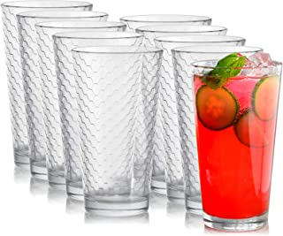 Circleware 40145 Paragon Heavy Base Highball Drinking Glasses Tumblers, Huge Set of 8 Kitchen Entertainment Ice Tea Beverage Cups Glassware for Water, Juice, Beer and Bar Decor Gift, 15.7 oz, 8pc