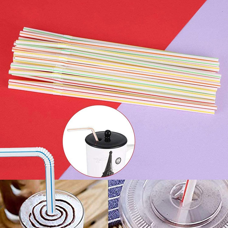 300//400pcs Jetables Pailles Flexibles en Pailles Pailles Color/ées,Mat/ériel de S/écurit/é,pour les f/êtes bars magasins de boissons pailles /à la maison 100PC