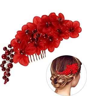 Frcolor Wedding Flower Hair Comb Slide Clip with Pearl Rhinestone (Red)