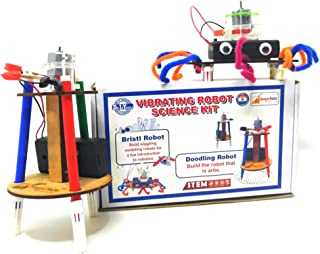 StepsToDo Vibrating Robot Science Kit Make Doodling Robot and Bristlebot. Two in One Robotic Kit. Make Two Type of Robots.