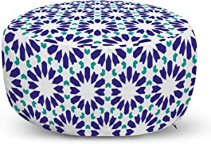 Ambesonne Mosaic Ottoman Pouf, Classic Moroccan Portuguese Style Hexagons Geometric Repetition, Decorative Soft Foot Rest with Removable Cover Living Room and Bedroom, Indigo Dark Seafoam and White
