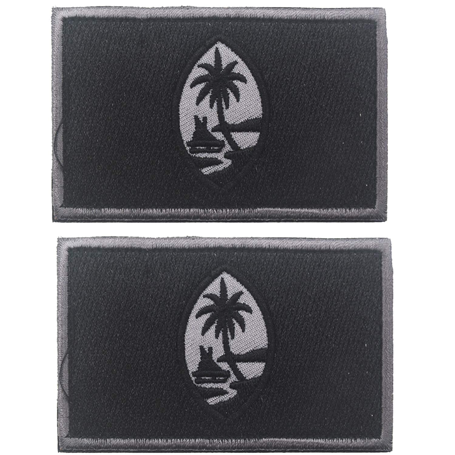 Guam Guamanian Territory of The United States National Flag Embroidered Hook & Loop Patch Tactical Military Morale Emblem Patches Applique Badge 2PCS