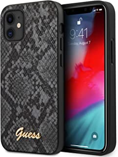 """Guess GUHCP12SPUSNSML PU Python Pattern Case w/Metal Logo for Apple iPhone 12 5.4""""/Protective Case for your Mobile - (Black)"""