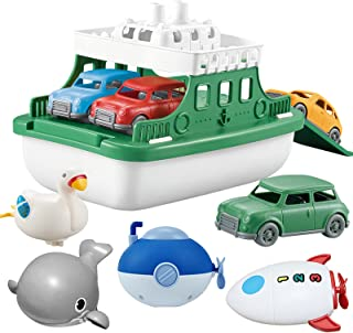 OKGIUGN Ferry Boat Toys Set with 4 Cars and 4 Wind Up Bath Swimming Toys, Kids Bath Toy Floating Vehicle Whales Submarines...