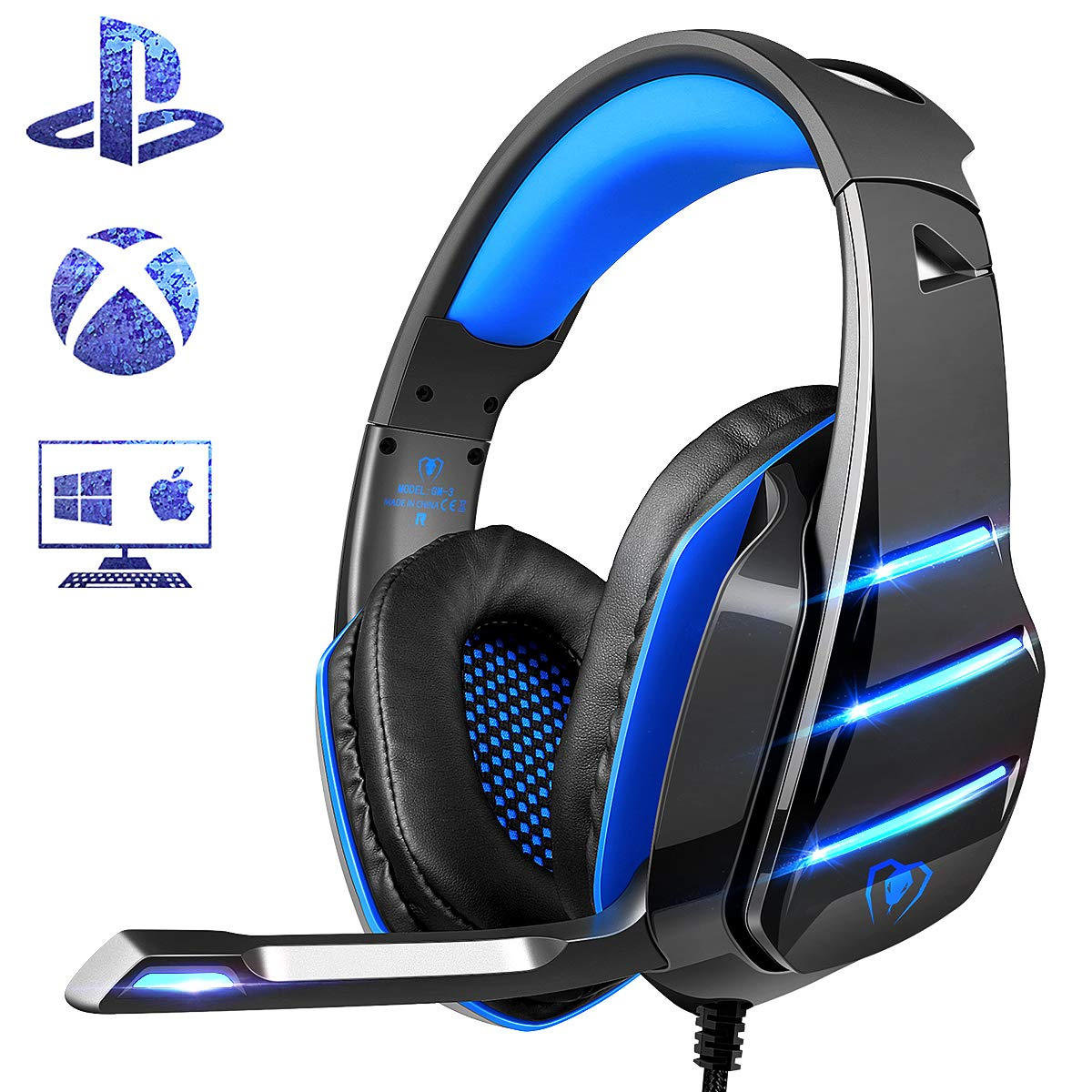 PS4 Gaming Headset with Mic, Beexcellent Newest Deep Bass Stereo Sound Over Ear Headphone with Noise Isolation LED Light for PC Laptop Tablet Mac (Blue)
