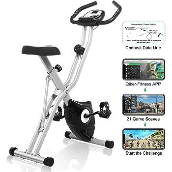 Profun - Bicicleta estática plegable para ejercitarse en interiores, 10 niveles de resistencia magnética, asiento amplio y cómodo, soporte para tableta y pantalla digital, Gris sans dossier: Amazon.es: Deportes y aire libre