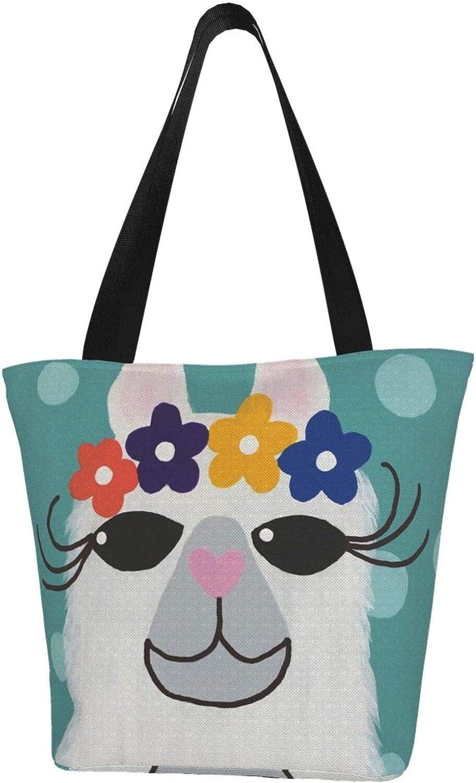 No Prob-Llama Wave Point Green Themed Printed Women Canvas Handbag Zipper Shoulder Bag Work Booksbag Tote Purse Leisure Hobo Bag For Shopping