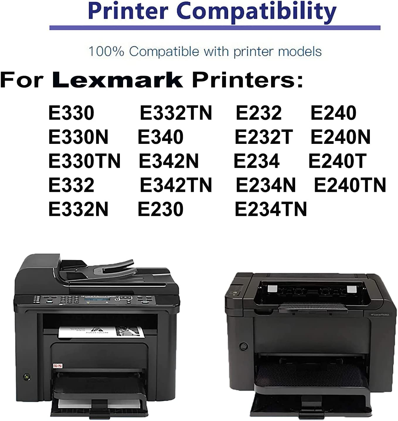 4-Pack Compatible High Yield E234N E234TN E240 E240N E240T E240TN Laser Printer Toner Cartridge Replacement for Lexmark 24035SA Printer Cartridge (Black)