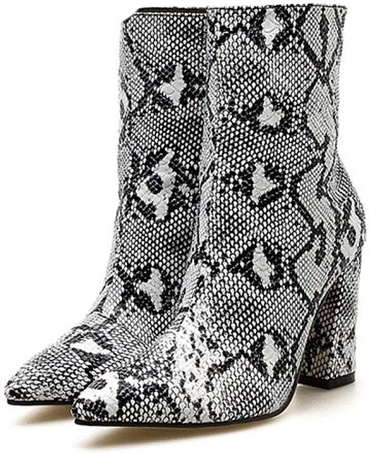 Friedman Women Zipper Boots Snake Print Ankle Boots Square Heel Fashion Pointed Toe Ladies Sexy shoes 2018 New Chelsea Boots