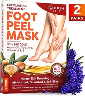 Foot Peel Mask - 2 pack - Make Your Feet Baby Soft - Dry Dead Skin Exfoliating Callus Remover - Peeling Masks with 24K Gol...
