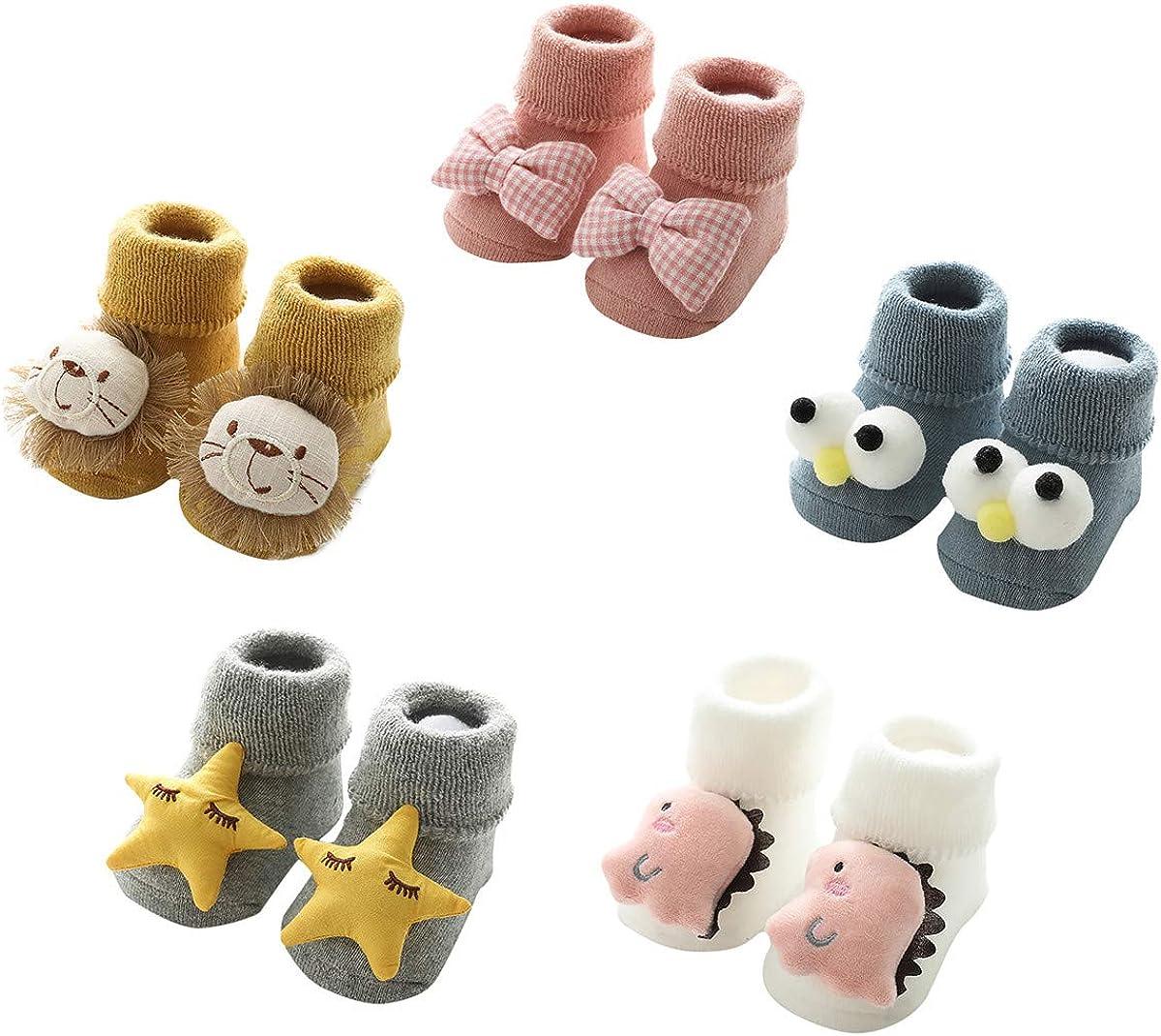 Soft Thick Infant Toddler Socks -Non Slip Socks Warm Cotton Floor Socks,Cute Animal Patterns for Boys Girls From 6-36 Months
