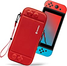 Ultra Slim Carrying Case Fit for Nintendo Switch, tomtoc Original Patent Portable Hard Shell Travel Case Pouch Protective Cover, 10 Game Cartridges, Military Level Protection, Red