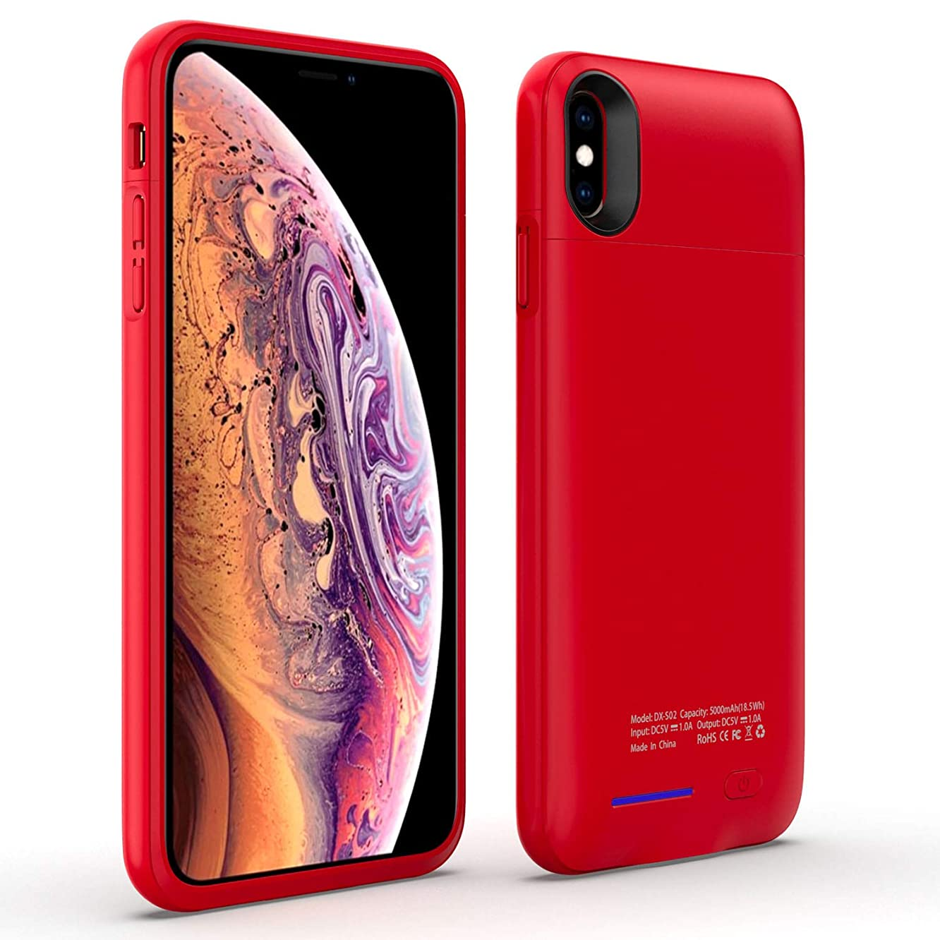 Gorilla Gadgets 5000Mah Battery Charger Case Compatible with iPhone Xs Max, Rechargeable Backup Battery Power Bank Charger Case, Magnet Bracket - Red