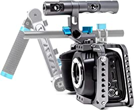 KONDOR BLUE BMPCC 6K 4K Full Cage for Blackmagic Pocket Cinema Camera 4K/6K with Top Handle, NATO Rails, Cold Shoe, Bubble Leveler and Optional T5 Holder, Baseplate & More (Full Cage Rig, Space Gray)