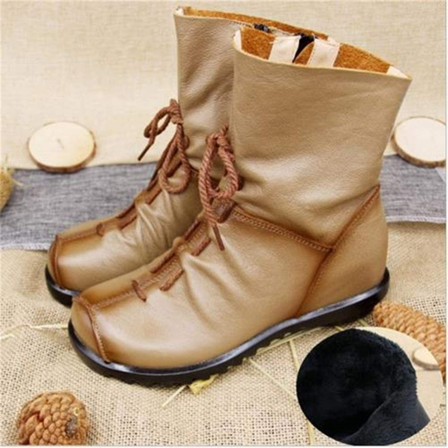 Marvin Cook Autumn Genuine Leather Ankle Boots Ladies Casual Warm Comfortable Flat Winter Boot Footwear Female shoes