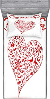Lunarable Valentines Day Fitted Sheet & Pillow Sham Set, Happy Valentines Day Words Lovers with Hearts Romantic Artwork Print, Decorative and Printed 2 Piece Bedding Set, Twinxl, Red and White